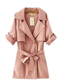 xiaoming Women's Elegent Long Sleeve Long Trench Coat Jacket with Belt Pink >>> More info @ http://www.amazon.com/gp/product/B017DG6ZNO/?tag=clothing8888-20&pqr=240716053558