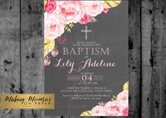 Floral Baptism Invitation. Flower Baptism by MakinMemoriesOnPaper