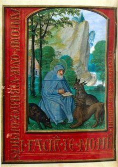 A1264 Simon Bening (atelier) St Anthony 1530-1534 Miniature (Book of Hours) Tempera and gold on parchment 13.3 x 9.8 cm Museu Nacional de Arte Antiga Lisbon, Portugal Inv. nr. Ilum 13/110v.