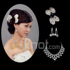 Alloy Wedding Jewelry Set Including Headpiece, Earrings, Necklace With Rhinestone - UUknot.com