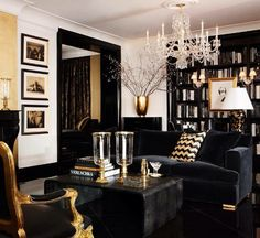 Classic black lounge room