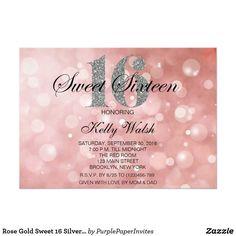 Rose Gold Sweet 16 Silver Glitter Invitation