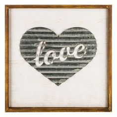 Love Corrugated Metal Heart Framed Wall Art