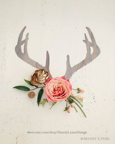 rustic & handpainted wood with splash of coral & gold floral sprays Snelson Snelson Mills Antlers Buck Tattoo, Different Kinds Of Art, Coral And Gold, Oh Deer, Kawaii, Photography Website, Antlers, Tattoo Inspiration, Flower Power