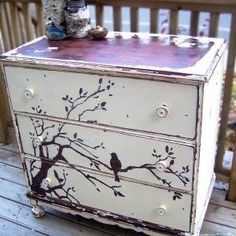 DIY dresser art - do something like this on the sides of the piano