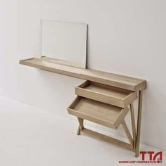 Simple Desk and Dressing Table with Unique Hinged Drawers - The Great Inspiration for Your Building Design - Home, Building, Furniture and Interior Design Ideas Dressing Table With Drawers, Dressing Table Desk, Dressing Room, Wood Furniture, Furniture Design, Space Furniture, Furniture Plans, Furniture Making, Console Design