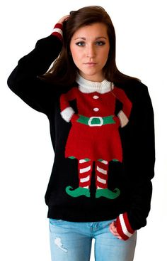 Women's Mini-Elf Christmas Sweater by CrazyHolidaze on Etsy