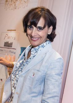 Ines de la Fressange lance sa collection Capsule chez Uniqlo, mars 2014.
