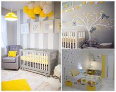 Habitaciones infantiles : gris + amarillo. #decoracióninfantil