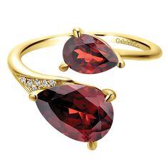 14k Yellow Gold Diamond Garnet Fashion Ladies' Ring   Gabriel