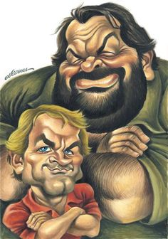 Bud Spencer and Terence Hill (by Vizcarra) - Karikatur - Caricature Funny Caricatures, Celebrity Caricatures, Celebrity Drawings, Funny Cartoon Faces, Cartoon Art, Cartoon Characters, Cartoon Drawings, Bud Spencer Terence Hill, Art Pictures