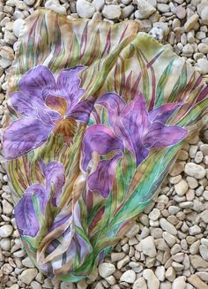 Hand painted silk scarf  with purple iris   Floral от EleNesSilk