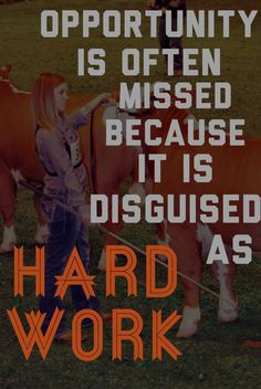 """Thomas Edison said a quote almost identical. He says, """"Opportunity is missed by most people because it is dressed in overalls and looks like work. Showing Cattle, Showing Livestock, Country Life, Country Girls, Country Quotes, Animal Quotes, Cow Quotes, Show Steers, Show Goats"""
