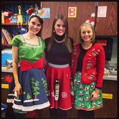 The teachers who crafted Christmas skirts and were brave enough to wear them. (Hmm… also reusable as tree skirts!) | 21 Teachers Who Nailed The Holidays