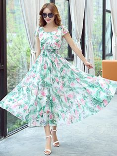 New White & Green Faux Georgette Printed Western Dress Long Gown Dress, Maxi Dress With Sleeves, Mothers Dresses, Girls Dresses, Summer Dresses, Western Dresses For Girl, Short Frocks, Indian Gowns Dresses, Indian Designer Outfits