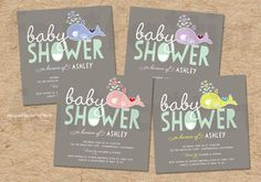 Whimsical Pregnant Whale Baby Shower Invitation   Cute Beach Fun Sprinkle Mommy & Baby Party Invite   PRINTED Card or PRINTABLE pdf / jpg - by fatfatin