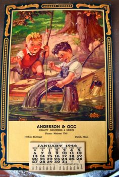 Hazel Home Art and Antiques Wausau, Wisconsin: 1946 advertising calendar for Anderson & Ogg, Quality Groceries and Meats, Duluth Minnesota.