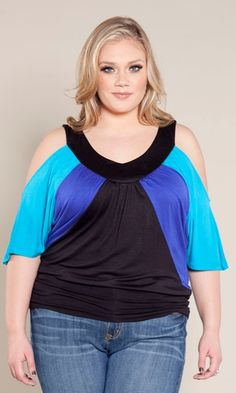 Zaria's Closet | Molly Color Block Top Blue | Online Store Powered by Storenvy