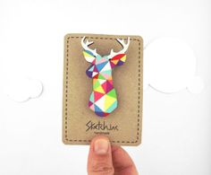 Geometric Deer Brooch Neon Stag Head - Unique boutonniere | Sketch Inc