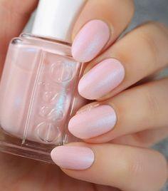 Light Pink Shimmer Manicure for a Bride