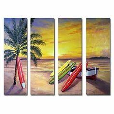 The Seaside Oil Painting - Set of 3 - Free Shipping
