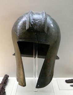 Ancient Macedonia  Bronze helmet, Portable excavation finds connected with everyday life.  Archaeological Museum of Pella  Macedonia=Greece