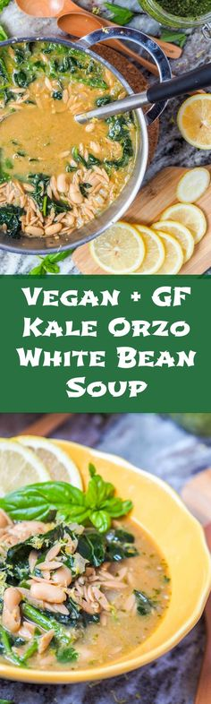 This eight ingredient vegan orzo kale white bean soup with pesto comes together in 30 minutes and is hearty enough for a full meal. Perfect for cooler fall nights. Gluten Free. | http://avocadopesto.com