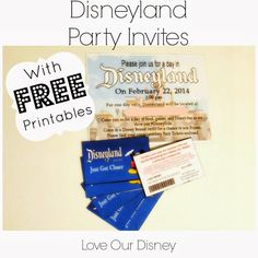 "Love Our Disney: Our #DisneySide @ Home Celebration Theme {With Free Printables} Check out these fun Disneyland Party Invites and ""Complimentary Ticket"" Printables. You can use them for a birthday, graduation, or any party you want to show your #DisneySide at."