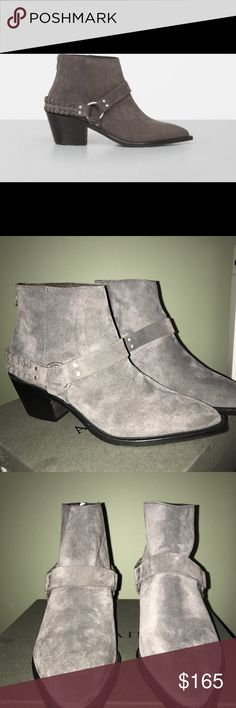 All Saints booties Marley biker booties in Wood . Made of soft suede . Very stylish , super comfortable . They are marked as 40 , and US 9 on the box . Can fit 9.5 as well . Brand new in a box . All Saints Shoes Ankle Boots & Booties