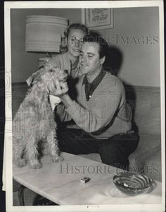 0 Jack Lemmon with  Wife Actress Cynthia Stone and their dog  duffy 1956