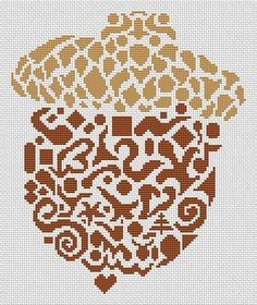 Tribal Acorn - Cross Stitch Pattern