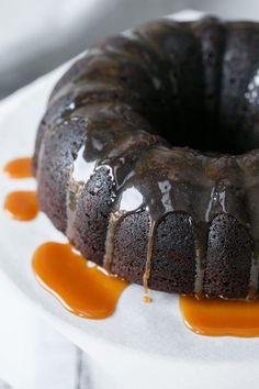 Chocolate Whiskey Bundt Cake w/ Whiskey Caramel Sauce