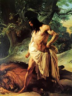 Francesco Hayez Samson and the Lion 1842 Oil on canvas 210 x 162 cm Galleria d'Arte Moderna, Firenze Lion Painting, Bullen, Biblical Art, Kunst Poster, Vintage Poster, Lion Art, Art Database, Classical Art, Wassily Kandinsky