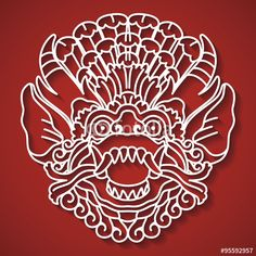 Vecteur : Mythological god's face. Balinese tradition. Barong.