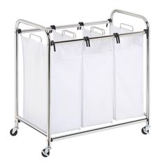 Whitmor 4 Section Rolling Laundry Sorter 4 Removable