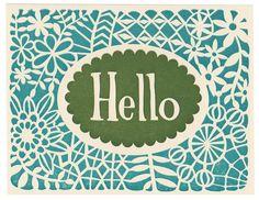 set of five handmade letterpress Hello greeting cards