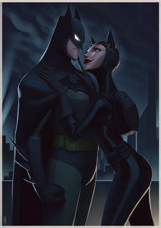 Batman and Catwoman, Leandro Franci on ArtStation at https://www.artstation.com/artwork/23nve