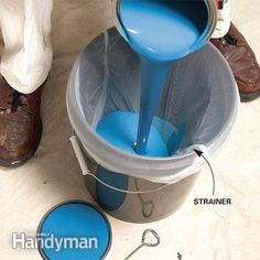 Buy a paint strainer at a home center or paint store or use old pantyhose to strain the paint. Place the strainer over a 5-gallon bucket, then pour the paint through the strainer. The strainer catches any debris in the paint. If you really want to be dollar savvy, rinse out the strainer in the sink and reuse it.