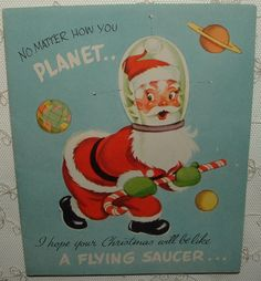 UNUSED - Honeycomb Flying Saucer, Santa - 1950's Vintage Christmas Card