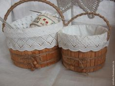 Storage basket from clothes pins and empty joghurt container