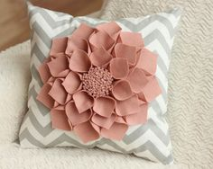 "so pretty! 16x16"" Grey Chevron Throw Pillow with Large Blush Wool Felt Dahlia Flower. $45.00, via Etsy."