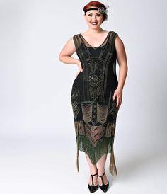 1920s Plus Size Dresses Preorder -  Unique Vintage Plus Size Black  Green Dorsey Beaded Fringe Flapper $268.00 AT vintagedancer.com