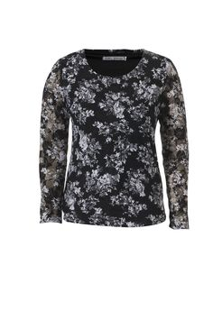Floral stretch lace top