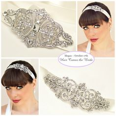 Bridal Hair Accessories and Jewelry by Hair Comes the Bride ~ Bella Rhinestone Ribbon Bridal Headband - Melissa Rhinestone Vintage Bridal Ribbon Headband