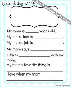 Free Mother's Day Printable - Totally The Bomb.com