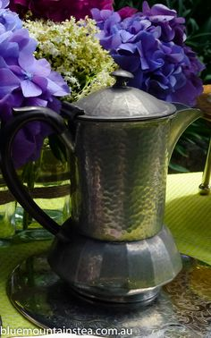 Pewter Coffee Pot for those who love their coffee instead of tea at a high tea for two, www.bluemountinai..., Blue Mountains Australia. Aussie High Tea.