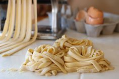 Sourdough Egg Noodles-these were good. I will dry/freeze some to use with my chicken and noodles. Sourdough Pasta Recipe, Recipe Using Sourdough Starter, Sourdough Recipes, Sourdough Bread, Starter Recipes, Bread Recipes, Cooking Bread, Bread Baking, Real Food Recipes