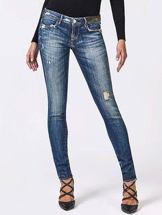 JEGGING DÉCHIRURES FRONTALES STRASS Blue Guess - Jeans Femme Guess - Ventes- pas-cher.com 926ce480258f