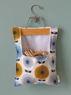 Clothes Pin Bag, Organic Bark Cloth, Jessica Jones Sunburst Blue