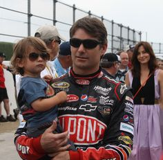 Jeff Gordon arrived at Talladega driver intros with his entire family - including little Leo in tow.